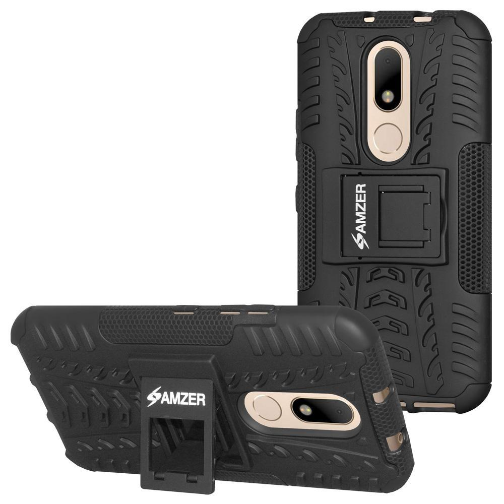 AMZER Shockproof Warrior Hybrid Case for Motorola Moto M - Black/Black