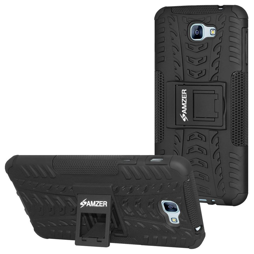 AMZER Shockproof Warrior Hybrid Case for Samsung Galaxy A8 2016 - Black/Black
