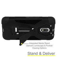 Load image into Gallery viewer, AMZER Dual Layer Hybrid KickStand Case - Black/ Black for Motorola Moto E 3rd Gen