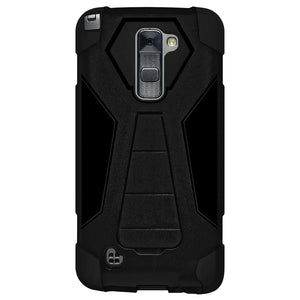 AMZER Dual Layer Hybrid KickStand Case - Black/ Black for LG Stylus 2