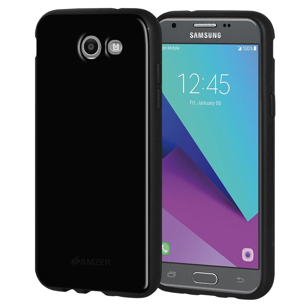 AMZER Soft Gel Pudding TPU Case - Black for Samsung Galaxy Amp Prime 2 SM-J120A