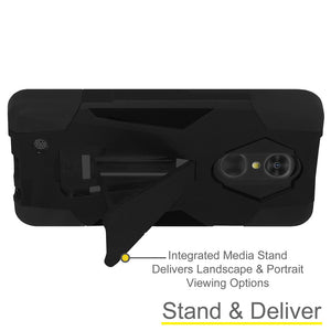 AMZER Dual Layer Hybrid KickStand Case - Black/ Black for LG K8 2017