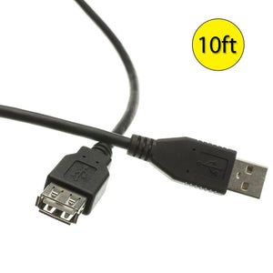 Amzer® USB 2.0 Type-A Male to Type A Female Extension 10ft Cable - Black