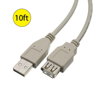 Amzer® USB 2.0 Type-A Male to Type A Female Extension 10ft Cable - Beige