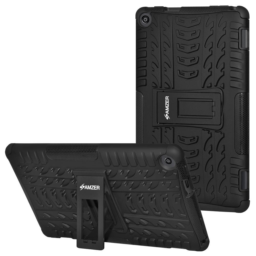 AMZER Shockproof Warrior Hybrid Case for Amazon Fire HD 8 2016 - Black/Black