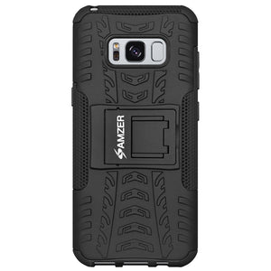 AMZER Shockproof Warrior Hybrid Case for Samsung Galaxy S8 Plus - Black/Black