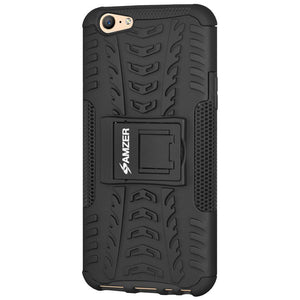 AMZER Shockproof Warrior Hybrid Case for OPPO A57 - Black/Black