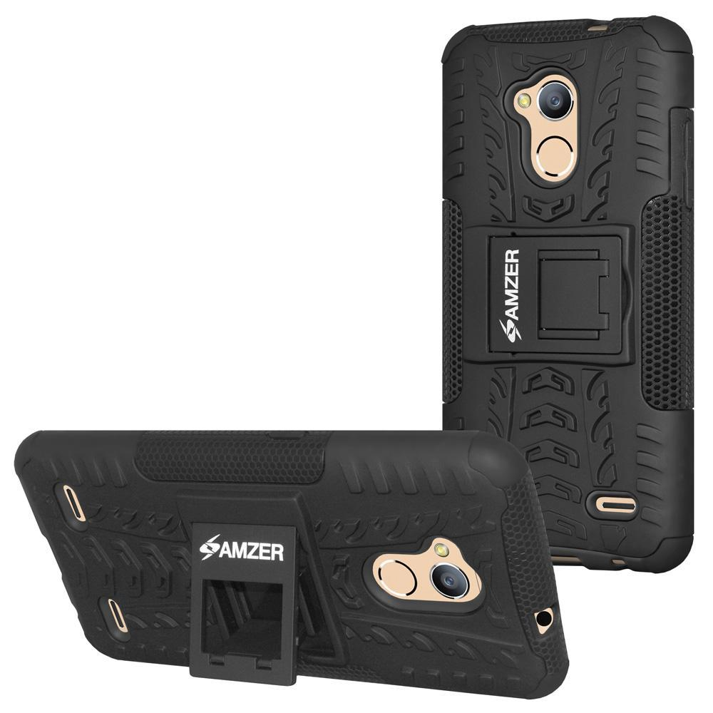 AMZER Shockproof Warrior Hybrid Case for ZTE Blade A2 - Black/Black
