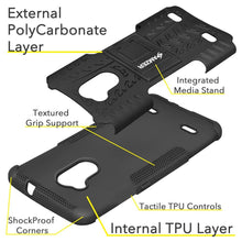 Load image into Gallery viewer, AMZER Shockproof Warrior Hybrid Case for ZTE Blade A2 - Black/Black