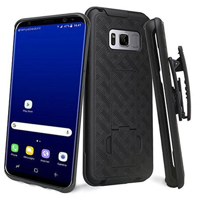 AMZER Shellster Hard Case  Belt Clip Holster for Samsung Galaxy S8 Plus - Black