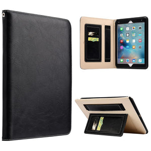 AMZER® Workman Leather Slim-Fit Folio Smart Folding Case With Hand Strap - Black for Apple iPad Pro 9.7