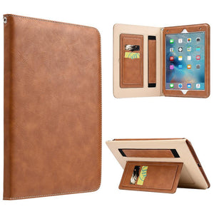 AMZER® Workman Leather Slim-Fit Folio Smart Folding Case With Hand Strap - Brown for Apple iPad Pro 9.7