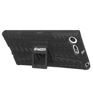 AMZER Shockproof Warrior Hybrid Case for Sony Xperia XZ Premium - Black/Black