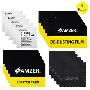 AMZER® Screen Care Kit with Cleaning Cloth, Alcohol Prep Pad, Scratch Card & De-Dusting Film Pack of 5 for Smartphone & Tablet Screens