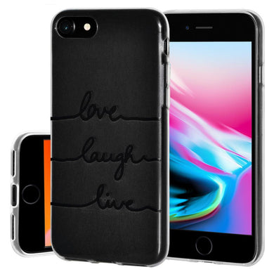 Ultra Thin Protective Cover Soft Gel Shockproof TPU Skin Case Love Laugh Live for iPhone 8 - Clear