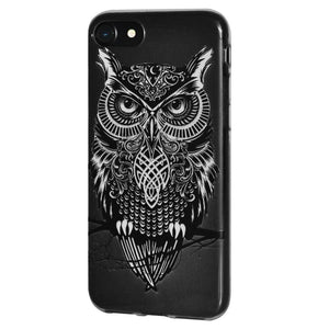 Ultra Thin Protective Cover Soft Gel Shockproof TPU Skin Case Graphic Owl for iPhone 8 - Clear