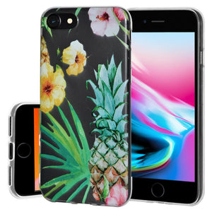 Ultra Thin Protective Cover Soft Gel Shockproof TPU Skin Case Tropical for iPhone 8 - Clear