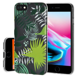 Ultra Thin Protective Cover Soft Gel Shockproof TPU Skin Case Botanical for iPhone 8 - Clear