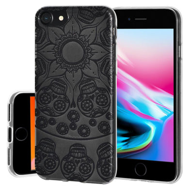 Protective Cover Soft Gel Shockproof TPU Skin Case Mandala Black Tattoo for iPhone 8 - Clear