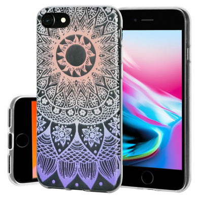 Ultra Thin Protective Cover Soft Gel Shockproof TPU Skin Case Mandala Ombre for iPhone 8 - Clear