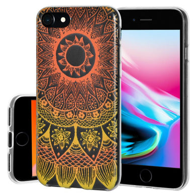 Ultra Thin Protective Cover Soft Gel Shockproof TPU Skin Case Mandala Sunset for iPhone 8 - Clear