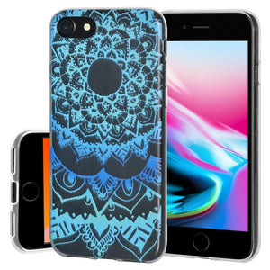 Ultra Thin Protective Cover Soft Gel Shockproof TPU Skin Case Mandala Ocean for iPhone 8 - Clear