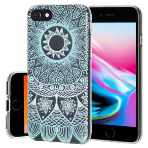Ultra Thin Protective Cover Soft Gel Shockproof TPU Skin Case Mandala Turquoise for iPhone 8 - Clear