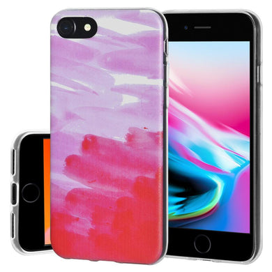 Ultra Thin Protective Cover Soft Gel Shockproof TPU Skin Case Abstract Pink for iPhone 8 - Clear