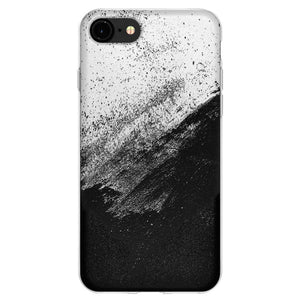 Protective Cover Soft Gel Shockproof TPU Skin Case Abstract Black And White for iPhone 8 - Clear