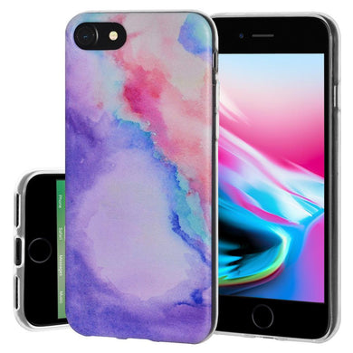 Shockproof Soft Gel TPU Skin Case Abstract Watercolor for iPhone 8 - Clear