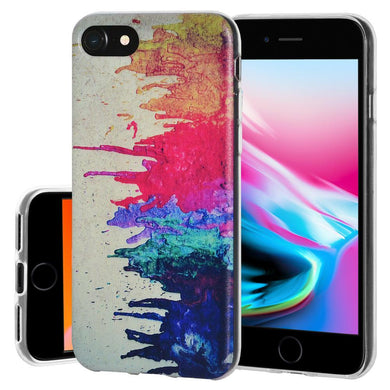 Protective Cover Soft Gel Shockproof TPU Skin Case Abstract Modern Art for iPhone 8 - Clear