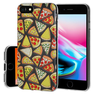 Ultra Thin Protective Cover Soft Gel Shockproof TPU Skin Case Pizza Print for iPhone 8 - Clear