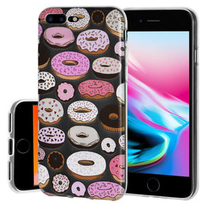 Ultra Thin Protective Cover Soft Gel Shockproof TPU Skin Case Donut Print for iPhone 8 - Clear