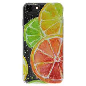 Ultra Thin Protective Cover Soft Gel Shockproof TPU Skin Case Citrus Print for iPhone 8 - Clear