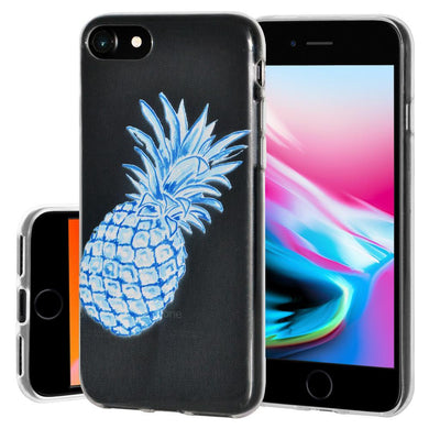 Ultra Thin Protective Cover Soft Gel Shockproof TPU Skin Case Blue Pineapple for iPhone 8 - Clear