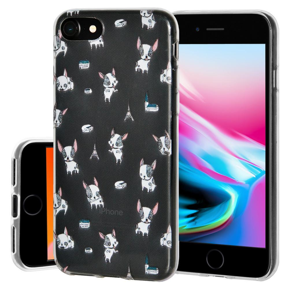 Ultra Thin Protective Cover Soft Gel Shockproof TPU Skin Case Puppy Print for iPhone 8 - Clear