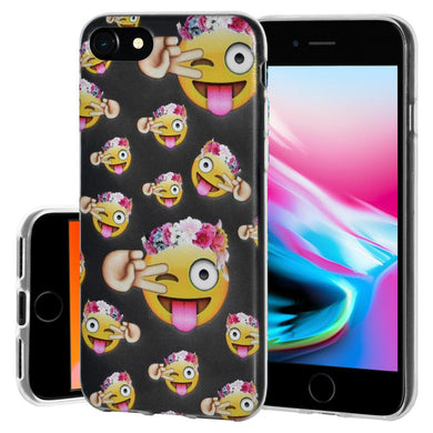 Soft Gel Shockproof TPU Skin Case Face With Stuck Out Tongue With Winking Eye for iPhone 8 - Clear