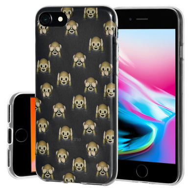 Protective Cover Soft Shockproof TPU Skin Case See Hear Speak No Evil Monkeys for iPhone 8 - Clear