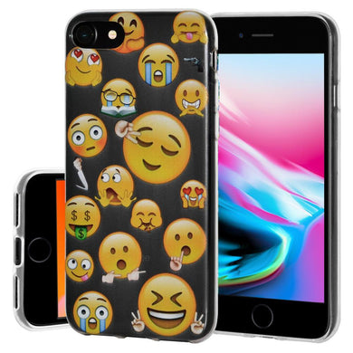 Ultra Thin Protective Cover Soft Gel Shockproof TPU Skin Case Mixed Emotions 2 for iPhone 8 - Clear