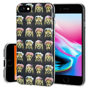 Protective Cover Soft Shockproof TPU Skin Case See Speak Hear No Evil Monkeys for iPhone 8 - Clear