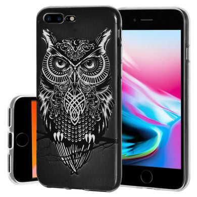 Ultra Thin Protective Cover Soft Gel Shockproof TPU Skin Case Graphic Owl for iPhone 8 Plus - Clear
