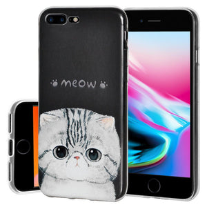 Ultra Thin Protective Cover Soft Gel Shockproof TPU Skin Case Kitten Meow for iPhone 8 Plus - Clear