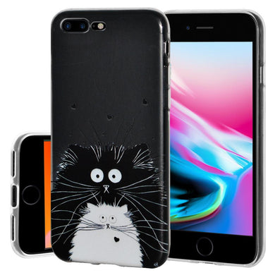 Ultra Thin Protective Cover Soft Gel Shockproof TPU Skin Case Cat for iPhone 8 Plus - Clear