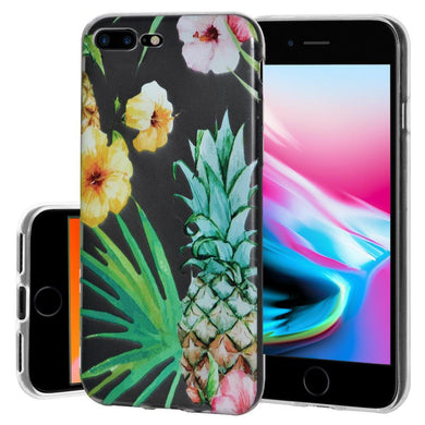 Ultra Thin Protective Cover Soft Gel Shockproof TPU Skin Case Tropical for iPhone 8 Plus - Clear
