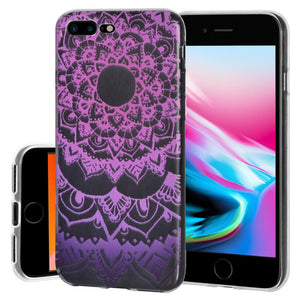 Protective Cover Soft Gel Shockproof TPU Skin Case Mandala Purple Zen for iPhone 8 Plus - Clear