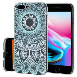 Protective Cover Soft Gel Shockproof TPU Skin Case Mandala Turquoise for iPhone 8 Plus - Clear