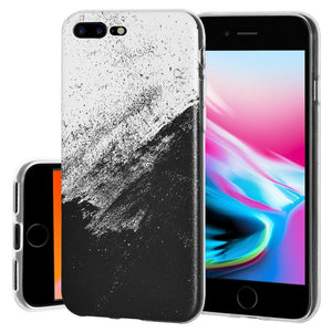 Protective Cover Soft Shockproof TPU Skin Case Abstract Black And White for iPhone 8 Plus - Clear