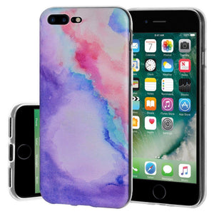 Protective Cover Soft Gel Shockproof TPU Skin Case Abstract Watercolor for iPhone 8 Plus - Clear