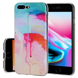 Protective Cover Soft Shockproof TPU Skin Case Abstract Watercolor Drip for iPhone 8 Plus - Clear