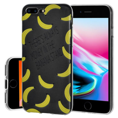 Ultra Thin Protective Cover Soft Gel Shockproof TPU Skin Case Banana Print for iPhone 8 Plus - Clear